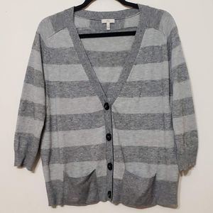 Joie Wool Cashmere Blend Striped Cardigan, sz M